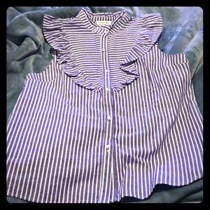 Monteau Striped Button Up Blouse